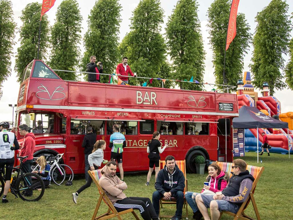 London Bus bar and bouncy castles